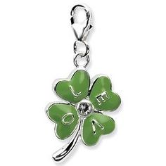 925 Sterling Silver Rh 3 D Enameled 4 Leaf Clover Lobster Clasp Pendant Charm Necklace Good Luck Italian Horn Fine Jewelry Gifts For Women For Her Clover Green, Four Leaf Clover, Clover 3, Love Charms, Flower Fashion, Colored Diamonds, 3 D, Swarovski Crystals, Charmed
