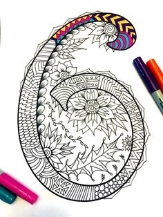 Harrington Font – Printable Zentangle Alphabet & Number Coloring Pages Mandalas Painting, Mandalas Drawing, Doodles Zentangles, Zentangle Patterns, Doodle Drawings, Doodle Art, How To Write Calligraphy, Doodle Designs, Flower Doodles