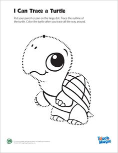 LeapFrog Printable: Turtle Tracing Page- Trace and color the Learning Friends Turtle! Tracing and coloring activities strengthen little hand muscles necessary for learning to write.
