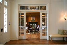 Love the pocket doors as an alternative to traditional French doors
