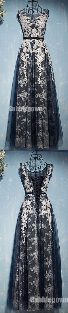 Black Tulle Applique Lace Up Back Formal Cheap Long Prom Dresses, BGP006 #promdress #prom #longpromdress