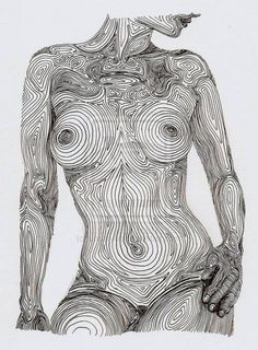 This nude drawn in lines that really understands the curves of woman's body. The woman resembles a split tree.