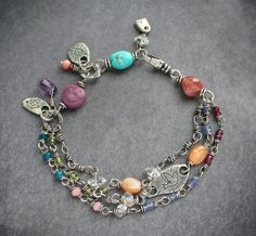 sterling silver and gemstone bracelet, #handmade #artisan #jewelry Luna's Loft  #boho #gypsy #jewelry #freespirit #style #handmade #handcrafted #finejewelry #gemstones
