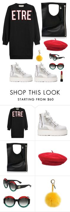 """""""Untitled #2160"""" by christawallace ❤ liked on Polyvore featuring Être Cécile, Puma, Alix, Brixton, Gucci, Fendi and Lancôme"""