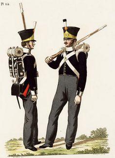 Hollandse infanterie anno 1815. Links een soldaat van de centrumcompagnie, rechts een flankeur. Dit is te zien aan zijn wings en donkergroene pompon. (Collectie Legermuseum exemplaarnummer: 00112051/014)