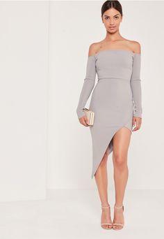 Ribbed Bardot Asymmetric Wrap Dress Grey - Missguided