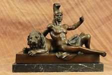 Handmade bronze sculpture Next Laying Warrior Roman Cast Hot Decor ArtDB