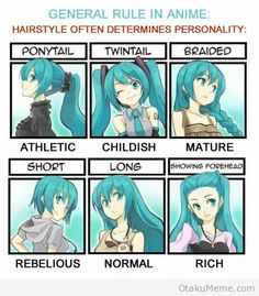 Anime personality vs hairstyle guide.