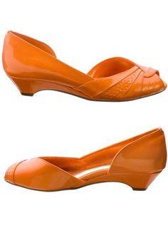 kitten heel orange shoes