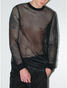 SIR New York - Mesh Long Sleeve Tee Black on Oaknyc.com