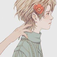 - (Flower boy neutral grim palette semi realistic)