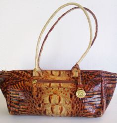 BRAHMIN Tan & Brown Embossed Italian Leather Satchel Shoulder Bag Free USA Ship