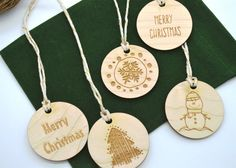 Christmas Gift Tags Set of 5 or 10 laser cut and by AllThisWood