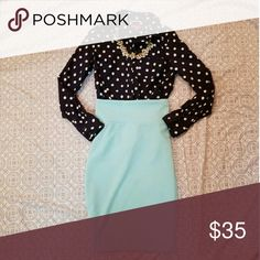 Complete outfit! Gorgeous mint colored Lularoe Cassie skirt new without tags. AND an EUC Merona Polka Dot button down navy & white shirt. A complete outfit for the price of just the skirt! Necklace not included. LuLaRoe Skirts Pencil