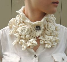 RoseOnie Collar Scarf, Ivory Colour Crochet Scarf, Rose Lace scarf, other colours, Merino Wool Rose Scarf,
