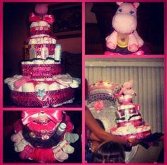 Animal print diaper cake hippo. Baby girl