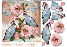 Wild Roses and Blue Butterflies Topper Decoupage on Craftsuprint - Add To Basket!