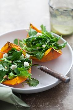 Winter Squash With Goat Cheese, Pine Nuts, And Greens