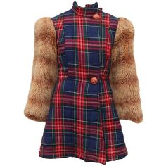 Preowned Betsey Johnson Alley Cat Wool Plaid Coat With Faux Fur... ($850) ❤ liked on Polyvore featuring outerwear, coats, multiple, plaid sports coat, military coats, vintage military coat, plaid wool coats and wool sport coat