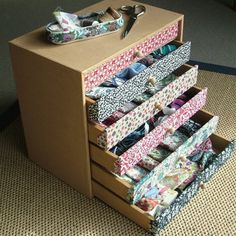 Liberty fabric covered mini chest of drawers by Dittany Matthews. Perfect for storing all those precious Liberty scraps