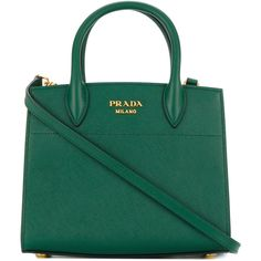 Prada small Galleria tote (9.505 RON) ❤ liked on Polyvore featuring bags, handbags, tote bags, green, tote bag purse, prada tote bag, green handbags, hand bags and tote hand bags