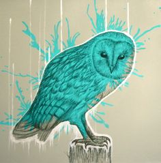 'Wild and Electric', acrylic, spray paint, metallic paint and pencil on #canvas, 40x40x4cm (2014) by Louise McNaught