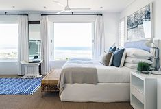 High on the mountainside overlooking Plettenberg Bay lagoon, Indigo House commands a spectacular view and boasts signature indigo, white and wood interiors. Rental Property, Pools, South Africa, Beach House, Indigo, Vacation, Bed, Places, Garden
