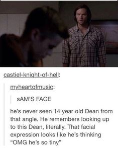 Sam seeing 14 year old Dean from his height instead of his 10 year old height ❤❤❤