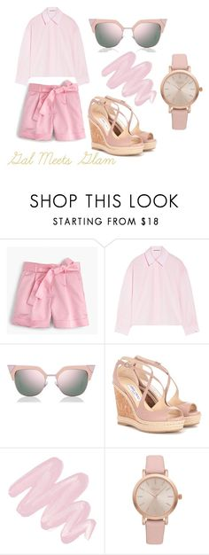 """""""Gal Meets Glam: Pink INspired"""" by pearls-curls-and-classy-girls on Polyvore featuring J.Crew, Acne Studios, Fendi, Jimmy Choo, Obsessive Compulsive Cosmetics and Vivani"""