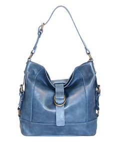 Another great find on #zulily! Washed Blue Violet Petal Leather Hobo #zulilyfinds