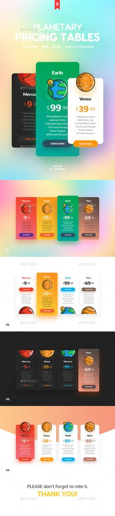 Buy Planetary Pricing Tables by themefire on GraphicRiver. 4 Versions of the clean and creative planetary pricing tables for your projects. Graphic Design Branding, Typography Design, Table Template, Pricing Table, Website Template, Presentation Templates, Tables, Google Fonts, Mesas