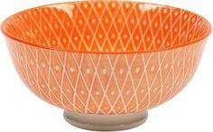 Orange Bowls Set Dishwasher Safe Ceramic 9 Ounces 6 Piece Medium Various Designs #OrangeBowlsSet