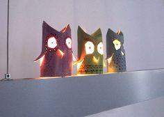 Cardboard tubes - owl lanterns