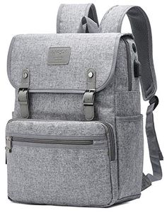 HFSX Backpack Bookbags Laptop Backpack for Women Men Vintage Backpack College Backpack Travel Bookbag Laptop Bookbags with USB Charging Port Gray Backpacks Fits inch Notebook Grey Backpacks, Vintage Backpacks, Computer Backpack, Men's Backpack, College Book Bag, Cute Travel Outfits, Laptop Bag For Women, Laptop Bags, Laptop Purse