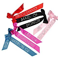 Bridal Party Ribbon ID Pins - Satin Ribbons. Been looking for these!!