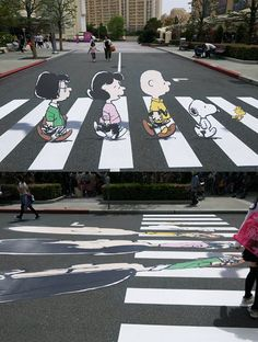 Pretty cool illusion meant to slow down drivers at a crosswalk. - Imgur