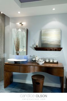Bathroom Vanity in Wood • Calming Wall Art for the Bathroom • Over Mirror Sconce in the Bathroom • Ball Chain Curtain • Recessed Lighting Placement in the Bathroom • Contemporary Bathroom Design Ideas #candiceolson #candiceolsondesign Bathroom Art, Modern Bathroom, Bathroom Lighting, Candice Olson, Contemporary Bathroom Designs, Home Spa, Creative Design, Vanity, Ceiling Lights