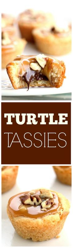 Turtle Tassies - Caramel, chocolate, and nuts in a sugar cookie cup. http://the-girl-who-ate-everything.com