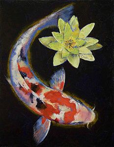 Koi With Yellow Water Lily Art Print by Michael Creese