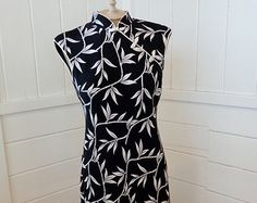 90s Black Floral Asian Inspired S.L. Fashions Dress by BosVintage on Etsy