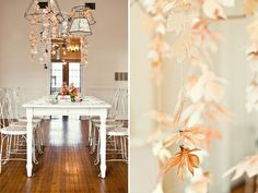I love these hanging flowers better than strung poms, but where to have them? behind a photobooth?