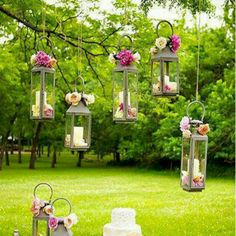 I love the addition of flowers to these hanging lantrns
