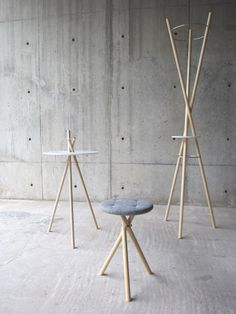 Stick and Twist table, stool and coat hanger wood   furniture . Möbel . meuble   Design: Naoya Matsuo  