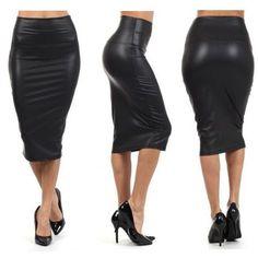 f0b7709af4e3ea Faux Leather Pure Color Elastic Bodycon Pencil Skirt. Potlood Rok ...