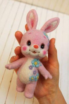 """花うさぎ Needle felted animal """"Flower Bunny"""""""
