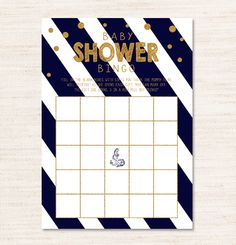 Navy Blue Nautical White Gold Glitter Sparkle Baby Shower Bingo Game – Instant Download Printable $2.00