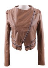 Khaki Wide Lapel Zipper Embellished Hem PU Leather Biker Jacket $36.45