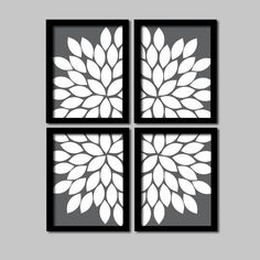 Bold Charcoal Grey and White Flourish Design Artwork Set of 4 Prints Gerbera Daisies Flowers Bedroom Wall Decor Floral Art Pictures 8x10. $38.50, via Etsy.