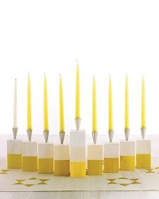 Make a modern wooden block menorah.