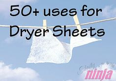 Over 50 uses for dryer sheets - Thrifty Ninja Household Cleaning Tips, House Cleaning Tips, Diy Cleaning Products, Cleaning Solutions, Spring Cleaning, Cleaning Hacks, Uses For Dryer Sheets, Cleaners Homemade, Things To Know
